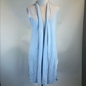 Cynthia Rowley Blue Sleeveless Linen Open Vest
